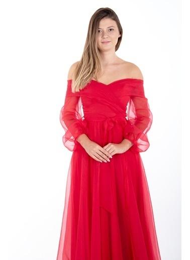 Belamore  Kırmızı Kayık Yaka Yırtmaçlı Abiye & Meznuiyet Elbisesi 1301583.08 Kırmızı